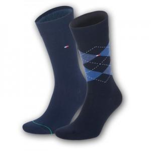 Tommy Hilfiger sokken - check middernacht blauw - 2pack